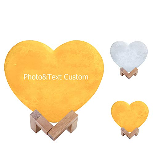 Customized Heart Shaped Moon Lamp,Personalized Moon Light 16 Colors,3D Printing USB Charging Night Lamp,Touch Remote Control Night Light for Birthday Mother Day Gift(15/18/20 cm Diameter)