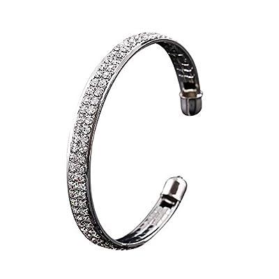 DaoAG-Accessories Rhinestone Charm Bracelets for Women Crystal Open Cuff Bracelets Jewelry Fashion Adjustable Chain Bracelet Simple Bangle Bracelets for Women & Girls (Silver)