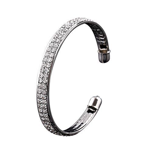 Hemlock Women Crystal Bracelet Rhinestone Open Bangle Cuff Bracelet Jewelry (Silver)