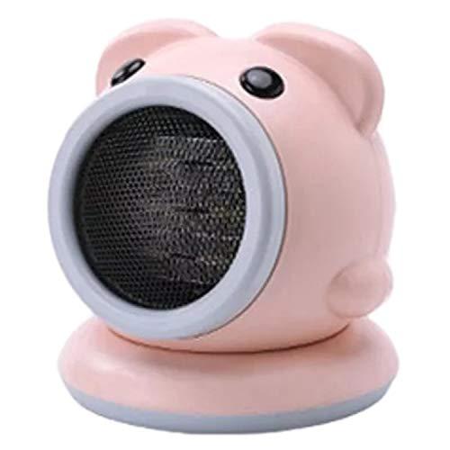Huante - Calefactor eléctrico portátil con ventilador pequeño, con termostato regulable, calor interior giratorio, color rosa