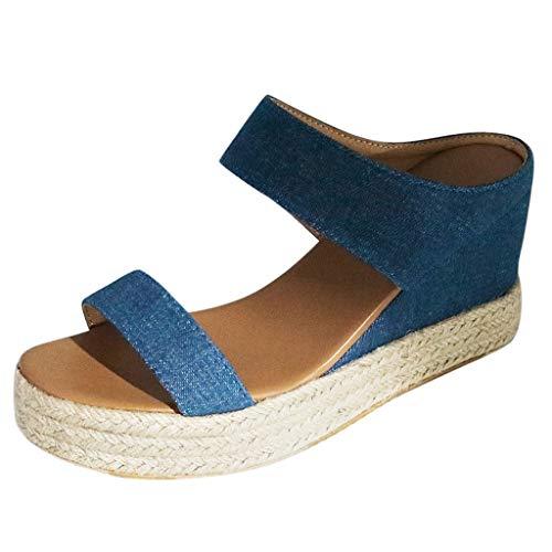 Damen Sandalen Keilsandalen Plateauschuhe Wedge Platform Bequeme Beach Strandsandale Hausschuhe Slipper Sommer Outdoor Sandals Freizeitschuhe(1-Blau/Blue,39)