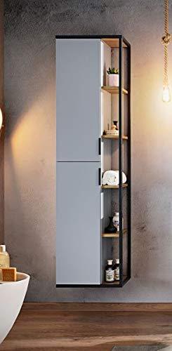 Hoge kast 'Boston' badkamer decor zwart industrieel metaal