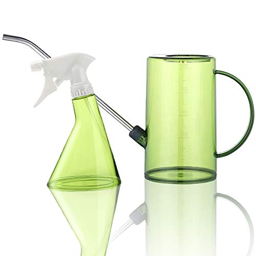 Bravedge Watering Can, Long Spout Watering Can for House Plants, Succulents and Flowers, 1 Liter Watering Pot, with Bonus 370 ML Plant Mister Spray Bottle