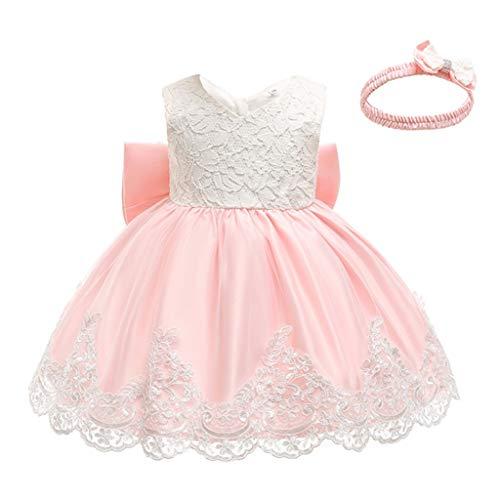 TWIFER Vestido Bebé Infantil Niña Vestido de Encaje Sin Mangas Tutú Princesa Vestido Formal de Niña Bautizo Princesa Boda Vestido de Cumpleaños Bautismo Bebé Niña Verano Ropa + Venda de Pelo