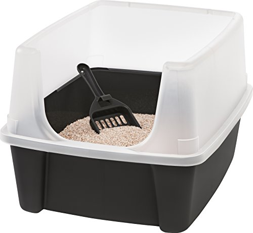 Iris Ohyama Cat litter box with scoop -, Plastic, Grey