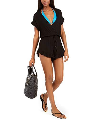 Dotti Treasure Ruffle-Trim Romper Swimsuit Cover-Up Size XL Black