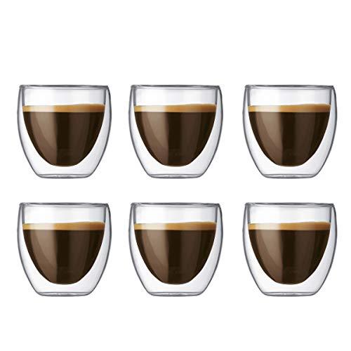 Bodum 4557-10-12 pavina Gläser-Set, Doppelwandig, isoliert, 6-teiliges, 0,08L,transparent