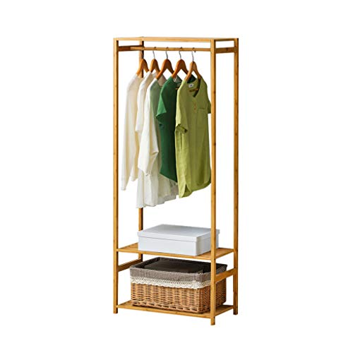Râteliers multi-usages Porte-Manteau Simple Cintre en Bois Massif étage Chambre Rack de Stockage Salon vêtements Rack Casiers (Color : Beige, Size : 60 * 30 * 147cm)