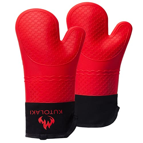 Silicone Oven Mitts, Extra Long Oven Mitts Silicone Gloves 450 F Heat Resistant for Cooking Kitchen Silicone Baking Mitts Oven Mitten with Cotton Lining, 15 inches Long BBQ Gloves