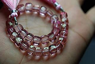 Jewel Beads Natural Beautiful jewellery 8 Inches, Mystic PINK Faceted 3DBOX Shape Briolettes 8-9mmCode:- JBB-37575