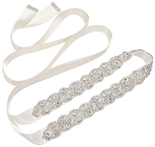 SWEETV Rhinestone Cinturón nupcial Vestido de novia Cinturón Dama de honor Faja Apliques de cristal para vestido de noche, Plata