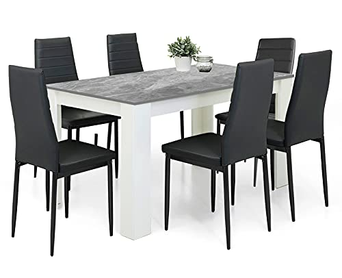 Dining Table And Chairs Set 6 Black Pu Leather Foam Ribbed High Back Padded Chairs With 16mm Thick Table Top 140x80cm Long Grey Wooden Dining Table Modern Design Dining Room Sets Home Furniture