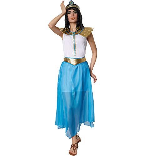 dressforfun 900562 Costume per Donna Affascinante Regina Egizia Hatschepsut, Costume Egizio in Bianco Blu e Oro (S| Nr. 302700)