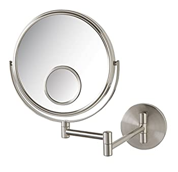 Jerdon JP7510N Wall Mount Makeup Mirror with 10x and 15x Magnification Nickel Finish 1.0 Count