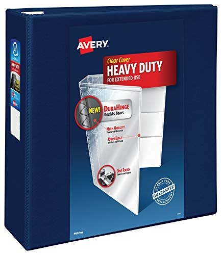 Avery Heavy Duty View 3 Ring Binder,4 One Touch EZD Ring, Holds 8.5 x 11 Paper, 1 Navy Blue Binder (79804)
