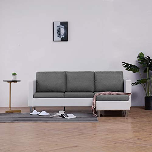 Canapé d'angle 3 places Blanc Cuir Chesterfield Confort