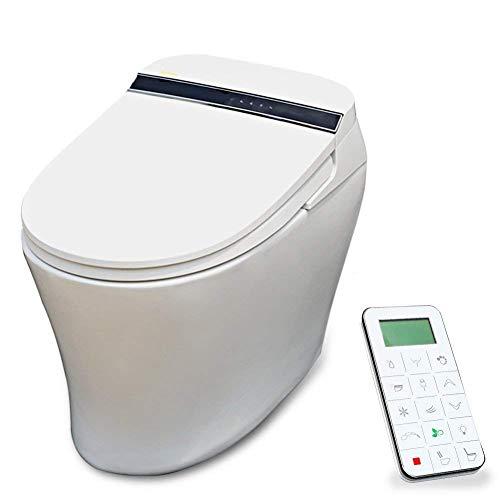 KOYIDA Einteilige längliche elektrische Bidet Toilette mit beheiztem Sitz Intelligent, P09 voll ausgestattete, Vollautomatisch drahtlose Fernbedienung, reinweiß