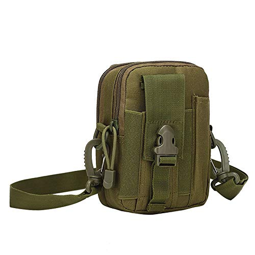 Tactical Waist Bag, Outdoor Tactical Molle Pouch with Shoulder Strap for Metal Detecting, Hunting or Shooting Range Sport (Green)