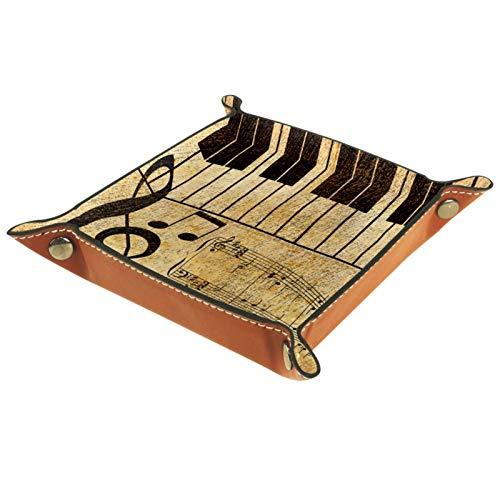 Valet Tray Desk Organizer Aufbewahrungsbox Leder Musiknote Tastatur Catchall Tray für den Heimgebrauch