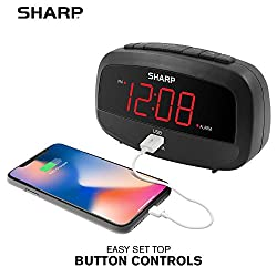 Sharp Digital Clock with Alarm and USB Charging Port - Charge Your Phone Bedside - Battery Back-up - Easy to Use