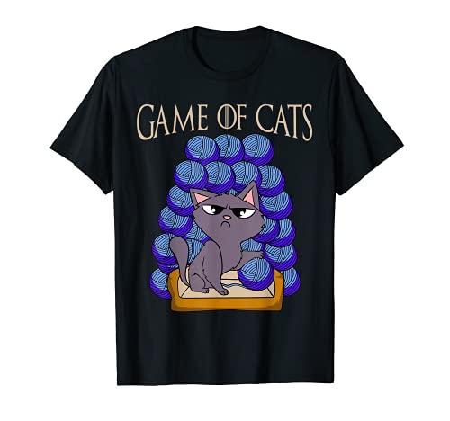 Game Of Cats - Katze mit Wolle am Thron Katzenmama Katze T-Shirt