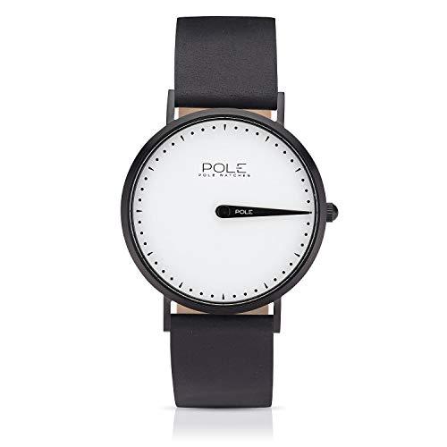 Pole Watches Orologio da Polso Analogico Monolancetta di Quarzo da Uomo Quadrante Bianco e Cinturino di Cuoio Nero Modelo Classic Achromatic C-1002BL-NE07