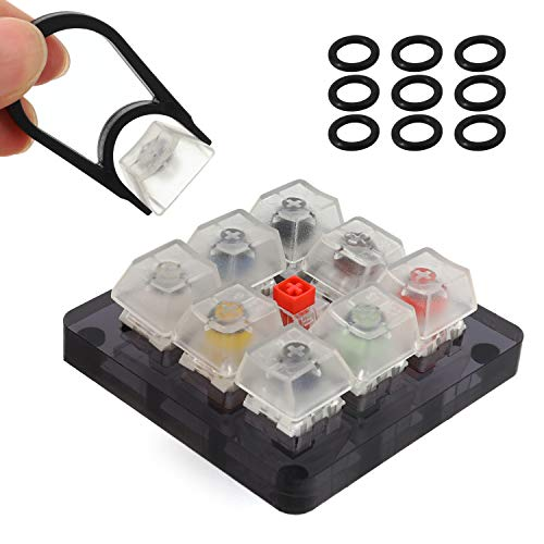 MWOOT 9-Key Kailh Box Switch Tester, Mechanical Keyboards Retooled Sampler Switch Testing Tool Kit, with Keycap Puller and O Rings, Kailh Keyboards Tester