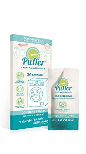 GREEN PUFFER Lava + Ammorbidisce, Eco Detersivo Concentrato Idrosolubile per Lavatrice, 2 in 1 Detersivo + Ammorbidente, Fai da Te (30 lavaggi), Made in Italy