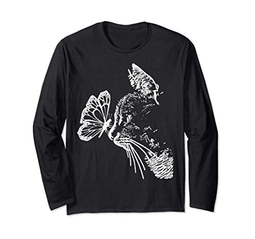 Süße Katzen Grafik Design - Butterfly Cat - Lustige Katze Langarmshirt