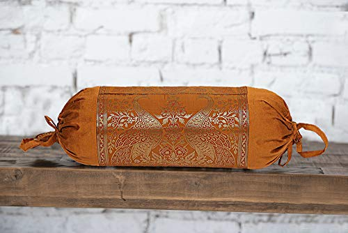 Real Online Seller Indian Polydupion Cylindrical Tube Pillow Bolster Pillow Covers Brown Jacquard Brocade Border Peacock Large Couch Round Cylinder Cushion Covers (Set of 2)