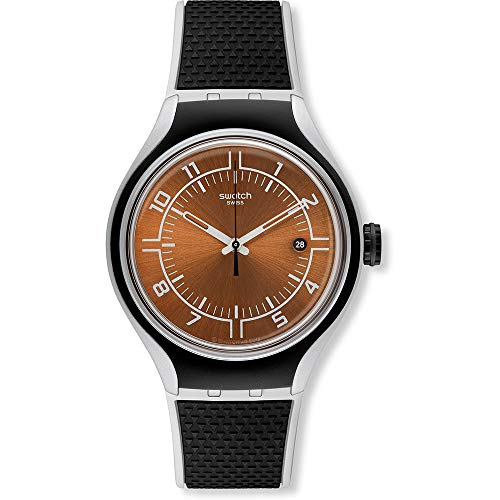 Swatch Unisex-Armbanduhr GO Jog Analog Quarz Leder YES4002