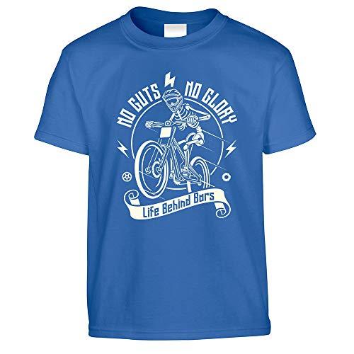 Tim and Ted Ciclismo T-Shirt per Bambini No Guts No Glory Mountain Bike Bike Royal Blue 12-13 Anni