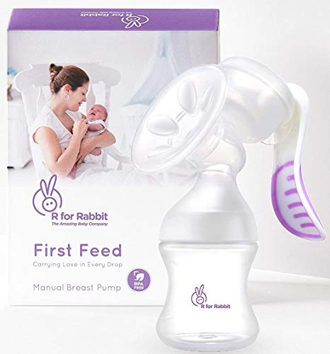 R for Rabbit First Feed Manual Breast Pump Most Safe & Comfortable Feeding Milk Breast Pump for Moms (Purple)