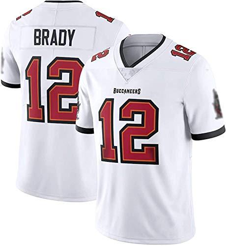ILHF Piraten # 12 Brady American Football Jersey, Männer Training Kurzarm Rugby Football Jersey T-Shirt Top,Weiß,XXL