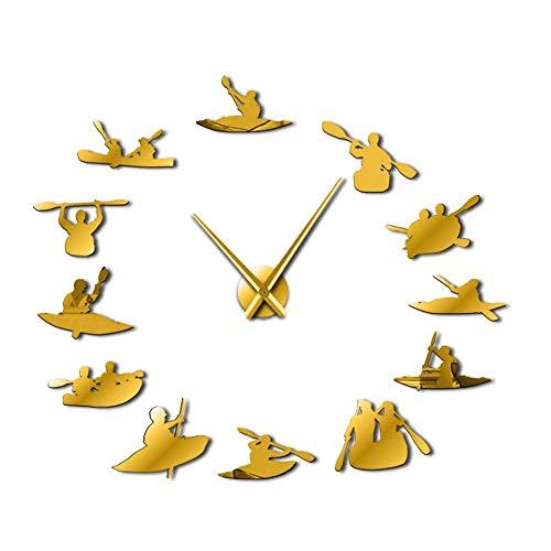 RelaxLife Relojes De Pared Canotaje DIY Reloj De Gran Tamaño Reloj Deportivo Moderno Rowing Reloj Big Time Definido por El Usuario Sailor Seaman Shipmaster Frameless Room Decor