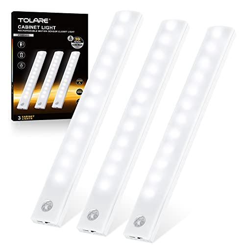 Tolare Luz LED Con Sensor De Movimiento Y Banda Magnética, Luz Armario Recargable De Gabinete Por USB 12 LEDs, Para Habitaciones De Niños, Dormitorios, Escaleras, Armarios - Blanco Frio (3 Pack)