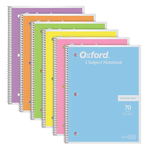 Oxford Spiral Notebook 6 Pack, 1 Subject, College Ruled Paper, 8 x 10-1/2 Inch, Pastel Pink, Orange, Yellow, Green, Blue and Purple, 70 Sheets (63756)