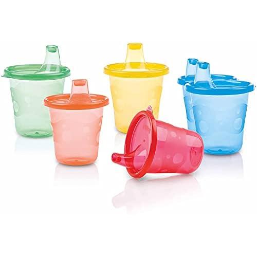 Nuby ID91121 - Bicchieri Wash or Toss da 210 ml, Set da 6 pezzi, Colori assortiti