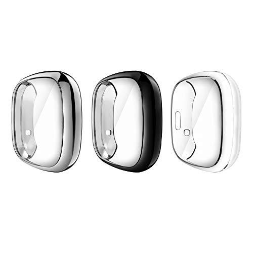 MoKo Schutzhülle für Fitbit Versa 3/Fitbit Sense, 3 Stück Ultra Dünn R&umschutz Hülle Ganzkörper Cover Bumper Hülle mit TPU Bildschirmschutz Zubehör - Schwarz+Silber+Klar
