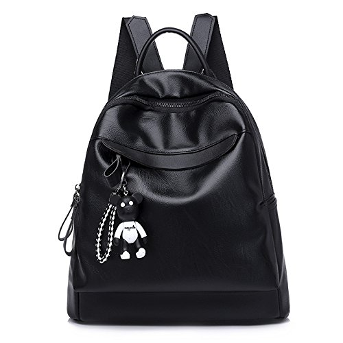 TSLX Sac à Dos Loisirs Mode Simple Sac à Dos Noir PU All-Match Mme