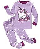 Girls Pajamas 100% Cotton Toddler Pjs Clothes Long Sleeve Kid Pjs Sleepwear Sets Size 5 Purple