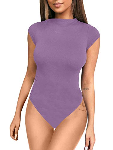 ZileZile Women's Sexy Bodycon Short Sleeve Scoop Neck Leotard Bodysuit Lavender