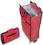 Jata 992 Bolsa Trolley con Asa de Transporte y Ruedas Plegables Extra Resistentes, Poliéster y Lámina de Aluminio, Rojo, 35.5x17x50 cm