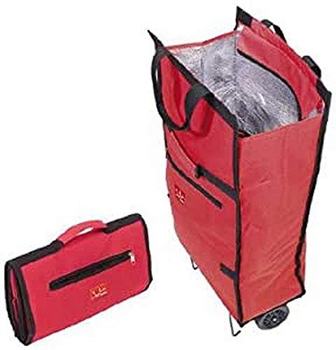Jata 992 Bolsa Trolley con Asa de Transporte y Ruedas Plegables Extra Resistentes, Poliéster y Lámina de Aluminio, Rojo, 34x18x70 cm