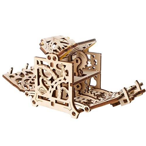 UGEARS 3D Modellbausatz Brettspiele Würfelbox - Dice Keeper - Holzkiste Aufbewahrungsbox für Würfel Kasten Holzbausatz Würfelspiele Kartenspiele für Erwachsene Würfelbeutel Modellbau Set Spielezubehör