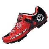 SIDEBIKE Zapatillas de Ciclismo para Adultos, Zapatillas de Bicicleta de Montaña Resistente al Viento Transpirable con Plantilla de Amortiguación (43, Rojo)
