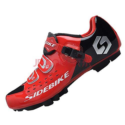 SIDEBIKE Zapatillas de Ciclismo para Adultos, Zapatillas de Bicicleta de Montaña Resistente al Viento Transpirable con Plantilla de Amortiguación (44, Rojo)
