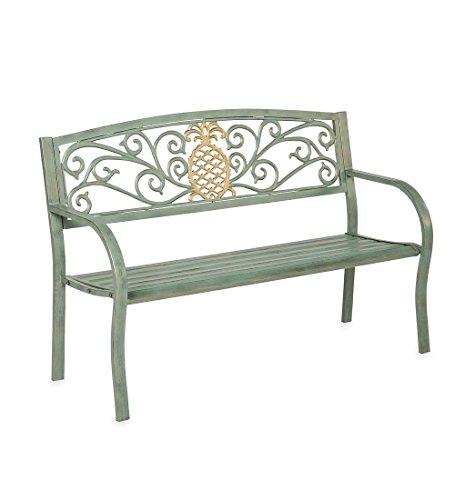 Plow & Hearth Pineapple Metal Garden Bench - 50 L x 21 W x...