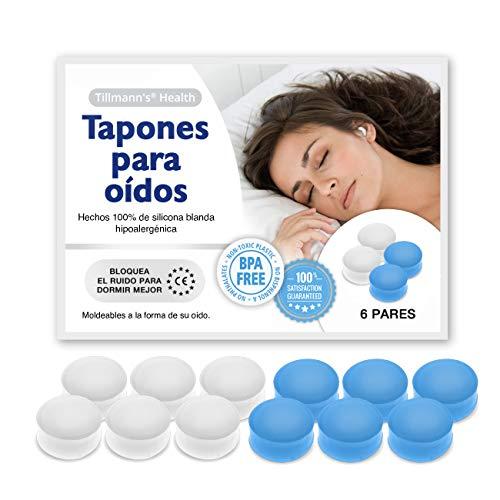Tapones Oidos Dormir 6 Pares - Tapones Oidos Silicona Moldeables Para Aislar Ruido - BPA Free Apto Para Toda La Familia En Blanco Y Azul