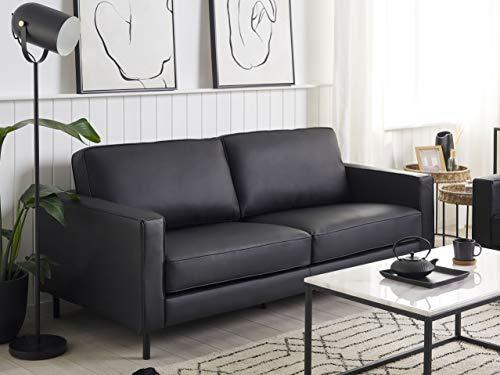 Beliani Sofa 3-Sitzer Leder modernes Ledersofa in Schwarz Couchsofa Wohnzimmersofa Savalen